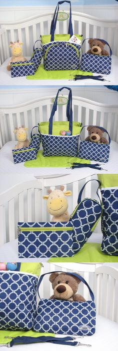 baby and kid stuff: Diaper Bag Set Shoulder Bag Baby Child Infant Boy Girl Tote Bottle Clothing Pad BUY IT NOW ONLY: $40.16