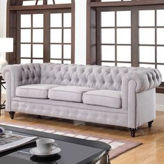 Classic Tufted Linen Fabric Chesterfield Sofa