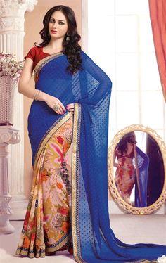 Picture of Impressive Blue and Peach Color Saree