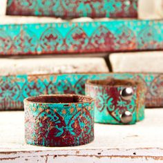 Turquoise+Leather+Wristband+Handcrafted+Jewelry+Cuff+by+rainwheel,+$28.00