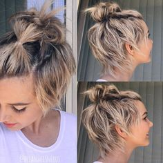 Who's says you have to pick between a top knot or a pixie cut? The trick is to do one little bubble pony right in the front to keep your shaggy bangs up, then top knot it up!–This is adorable! Growing Out Short Hair Styles, Growing Out Hair, Short Hair Cuts, Curly Hair Styles, Short Pixie, Pixie Cuts, Growing Out Undercut, Styling Short Hair Bob, Growing Out Pixie Cut