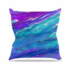 KESS InHouse JD1249AOP03 18 x 18-Inch 'Ebi Emporium Agate Magic - Purple Blue Aqua Lavender' Outdoor Throw Cushion - Multi-Colour * Read more info by clicking the link on the image. #GardenFurnitureandAccessories