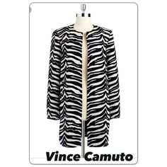 a4db4c66a7cd1 Women s Vince Camuto Zebra Jacquard Jacket Size Large 12-14 black and white