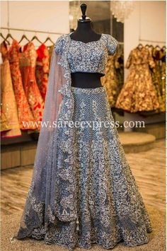 Gray Color Bridal & Party Wear Lehenga Choli in 2019 Wedding gray color lehenga - Gray Things Lehenga Choli Designs, Lengha Choli, Silk Lehenga, Red Wedding Dresses, Bridal Dresses, Wedding Attire, Indian Dresses, Indian Outfits, Bollywood Lehenga