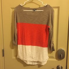 EXPRESS Color Block Blouse This top is adorable and so so comfy! Only worn once! Excellent condition. Adorable button detail making sleeves 3/4 length as shown is photo! Express Tops Blouses