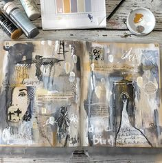 Learn how Guest Artist Ivy Newport creates her amazing art journal spread with collage materials and paint.