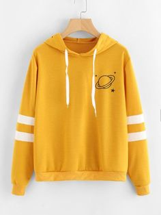Cheap Price ROMWE Planet Print Varsity-Striped Hoodie 2018 New Arrival Spring Autumn Ladies Hooded Tops Long Sleeve Women Yellow Sweatshirt Hoodie Sweatshirts, Hoodies, Sweat Shirt, Neue Trends, Long Sleeve Tops, Casual Outfits, Jeans Fashion, Fashion Black, Woman Fashion
