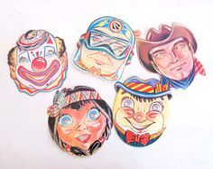 Vintage Halloween Masks 1950s - Originals - Set of 5 - Cardboard - Mid Century Party Masks