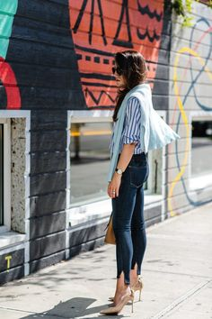 Amy Havins shares her favorite denim trend for fall, high low jeans.
