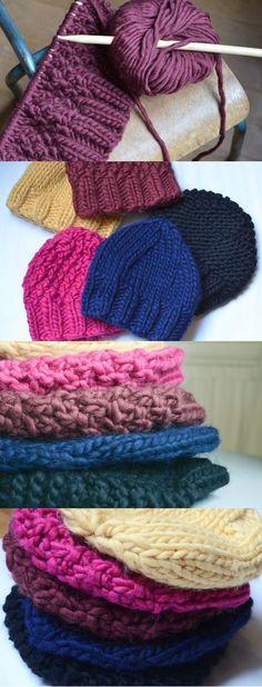 bonnets tutos l'encre violette / laine we are knitters http://www.encreviolette.fr/2014/01/bonnets-express/