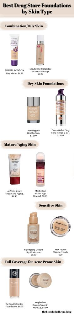 Best Drugstore Foundations for Oily, Dry, Acne Prone, Sensitive, and Mature Skin Check out the website to see more