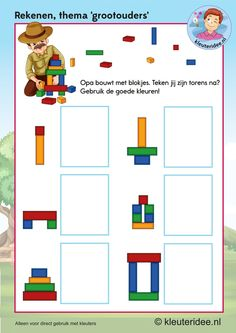 Rekenen met opa voor kleuters, blokjes bouwen,  kleuteridee.nl, kinderboekenweek 2016, thema grootouders, free printable, Kindergarten grandfather brick math. Grandparents Day, Reggio Emilia, Science For Kids, Math Resources, Pattern Blocks, Montessori, Kindergarten, Preschool, Occupational Therapy