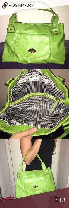 Emilie M lime green shoulder bag With this bag you can stash everything U needed for the day. I'm fact I used this once to fly out of the country, all my papers, passports books and anything else I carry went in there. Bags Shoulder Bags