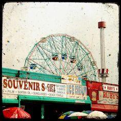Wonder wheel vintage amusement park ride Coney Island New York City ferris wheel boardwalk by the ocean home decor - 8 x 8 fine art print. $20.00, via Etsy.