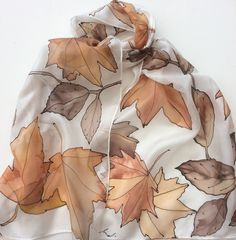 Autumn Leaves hand painted silk scarf.  Leaves silk by Colourscope