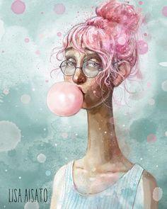 Umbrella Art, Blowing Bubbles, Bubble Art, Hug You, Book Illustration, Love Art, Funny Pictures, Funny Pics, Lisa