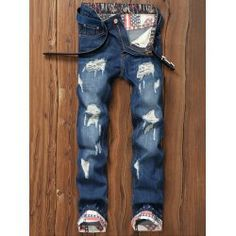 SHARE & Get it FREE | Star Print Hemming Design Distressed Zipper Fly Straight Leg JeansFor Fashion Lovers only:80,000+ Items • FREE SHIPPING Join Nastydress: Get YOUR $50 NOW!
