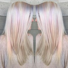 "Butterfly Loft Salon on Instagram: ""Platinum with subtle licks of pastel pink and lavender... By Butterfly Loft stylist Caroline."""