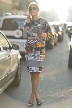 MFW Street Style Day Five: We can't get enough of this print. Source: Tim Regas