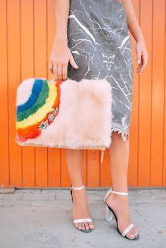 Shourouk Fur Rainbow Pochette.