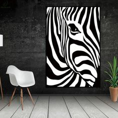 Scandinavian Zebra Stripes Nordic Abstract Wall Picture Poster Living Room Art Decoration Canvas Painting Prints No Frame Black Canvas Art, Black Canvas Paintings, Black And White Wall Art, Black And White Painting, Black And White Abstract, Black And White Posters, Animal Paintings, Oil Paintings, Zebra Painting
