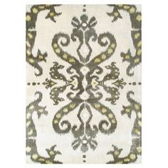 Wool rug with ikat motif.   Product: RugConstruction Material: WoolColor: Cream, gray and yellowNote: Please be aware that actual colors may vary from those shown on your screen. Accent rugs may also not show the entire pattern that the corresponding area rugs have.Cleaning and Care: Spot clean with mild soap and water. Professional cleaning recommended.