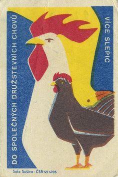 rooster matchbox label