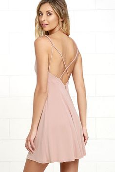 All week long and into the weekend, the Friday Favorite Mauve Dress will be the dress you'll want to wear! Perfectly soft modal-blend fabric shapes adjustable spaghetti straps (that cross at back), and a princess-seamed triangle bodice. High-waist opens to a full and flaring skirt. Hidden back zipper.