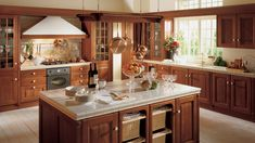 Traditional and contemporary in perfect harmony in the Baltimora Cherry wood kitchen. Big Kitchen, Rustic Kitchen, Kitchen Dining, Kitchen Ideas, Modern Country Kitchens, Country Kitchen Designs, Cherry Wood Kitchens, Cool Kitchens, Home Design