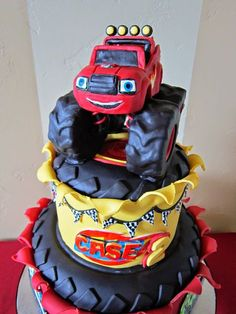 Delectable Cakes: March 2015 blaze and the monster machines cake idea