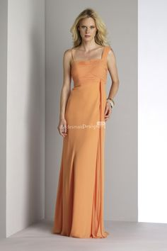 stunning light #orange square neck long a-line pleated #chiffon evening #bridesmaid #gown.US$ 397.00 off US$195.65