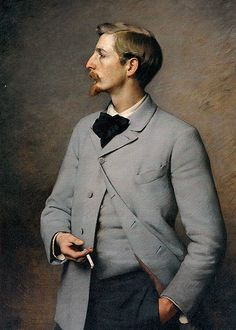 Paul Wayland Bartlett 1890, by Charles Sprague Pearce (1851-1914).  Like this high necked jacket, matching waistcoat, and the relaxed pose. Strong profile.