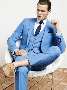 Navy Blue Customized Business Mens Suits 3 Pieces (Jacket+Pants+Vest) Wedding Tuxedos Groomsmen Best Man Formal Suit for Men Source by ricardoasiammeats Mens Fashion Blog, Mens Fashion Suits, Mens Suits, Men's Fashion, Fashion Menswear, Fashion Watches, Fashion Trends, Light Blue Suit, Men's Clothing