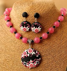 Black Pink Floral Polymer Clay Pendant with Semi Precious Beads and Earrings