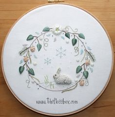 Winter Wreath Stumpwork and Surface Embroidery by Theflossbox