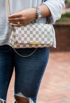 Louis Vuitton, damier azur, favorite pm, Louis Vuitton crossbody