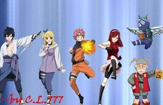 Fairytail + Naruto crossover. LOL! Happy as Kakashi? Seriously?