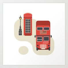 London icon Art Print by Jing Zhang's Illustrations - $19.50