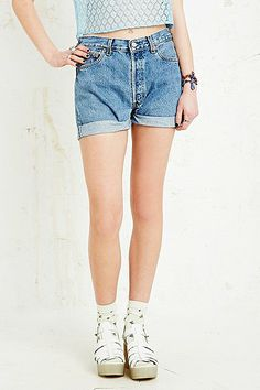 Vintage Renewal Levi's Turn-Up Denim Shorts in Light Wash Blue Denim