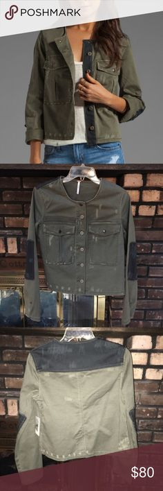 Free People Military Jacket I am in looove with this! It's a size extra small but unfortunately it runs pretty big and idk if I can even make it work on me ☹️ Offers welcome. NWT! Free People Jackets & Coats Utility Jackets
