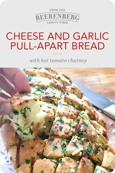 Delicious cheese and garlic pull-apart bread with hot tomato chutney. Click the image for the full recipe.  #garlicbread #cheesybread #breadrecipes