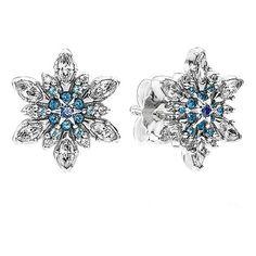 PANDORA 'Snowflake' Crystal Stud Earrings (2,700 THB) ❤ liked on Polyvore featuring jewelry, earrings, crystal snowflake earrings, stud earring set, blue earrings, pandora jewelry and snowflake jewelry