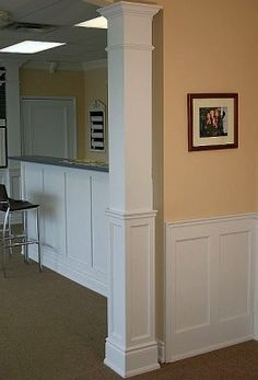 Our half paneled square columns are a perfect match to our Wall Paneled Wainscoting, Flat Panel Wainscoting or our Raised Panel Wainscoting. An example of this can be seen in the picture provided. Front Porch Columns, Wood Columns, Front Entrances, Square Columns, Wood Square, Pillar Design, Interior Columns, Stair Walls, Column Design