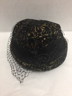 Vintage Hat Black Netting Brown Bow Womens 25b35e71468a