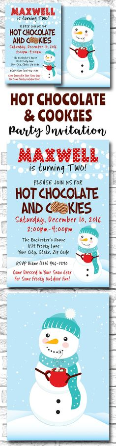Printable Hot Chocolate And Cookies Party Invitation For A Winter Themed Outdoor Kid's Birthday Party