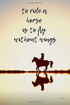 To Ride A Horse Is To Fly Without Wings: Diary / journal / notebook / composition / writing book for horse lovers. Regular lined white paper, 120 pages, 6 x 9 journal. Funny Horses, Cute Horses, Pretty Horses, Horse Love, Beautiful Horses, Rodeo Quotes, Equine Quotes, Equestrian Quotes, Equestrian Problems