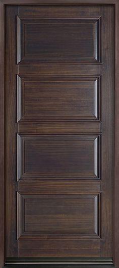 Front Entry Door - Custom - Single - Solid (Euro Technology) Wood with Walnut Finish, Classic Series, Model Custom Interior Doors, Door Design Interior, Wooden Door Design, Front Door Design, Single Door Design, Wood Entry Doors, Wooden Doors, Classic Doors, Timber Door