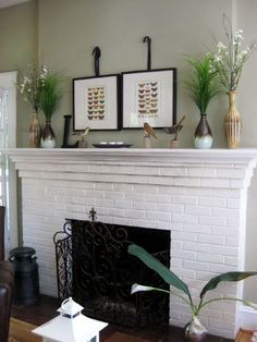 successful painted fireplace. MANTLE. art.                              …