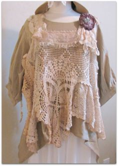 One of a kind, handmade crochet vest layered over our Molly top.