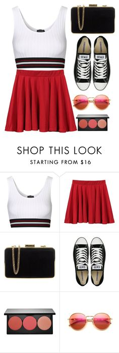 """""""looking like a cheerleader"""" by gabygirafe ❤ liked on Polyvore featuring Topshop, MICHAEL Michael Kors, Converse, Smashbox and Wildfox"""